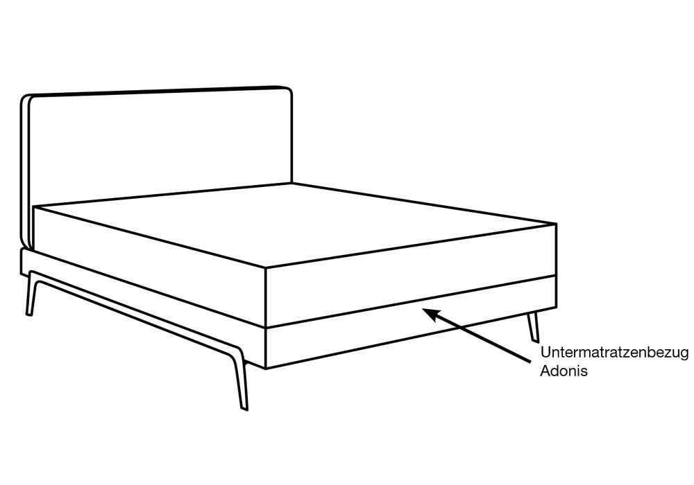 Treca Boxspringbett Adonis mit Stahlkufe als Skizze dargestellt. Mit einem ein meter hohen Kopfteil