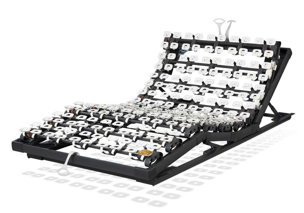 Der Lattoflex Rahmen 260 besteht aus drei manuellen Einstellungsmöglichkeiten: Kopf 5-stufig, Oberkörper/Rücken 6-stufig, Knie-Knick 3-stufig