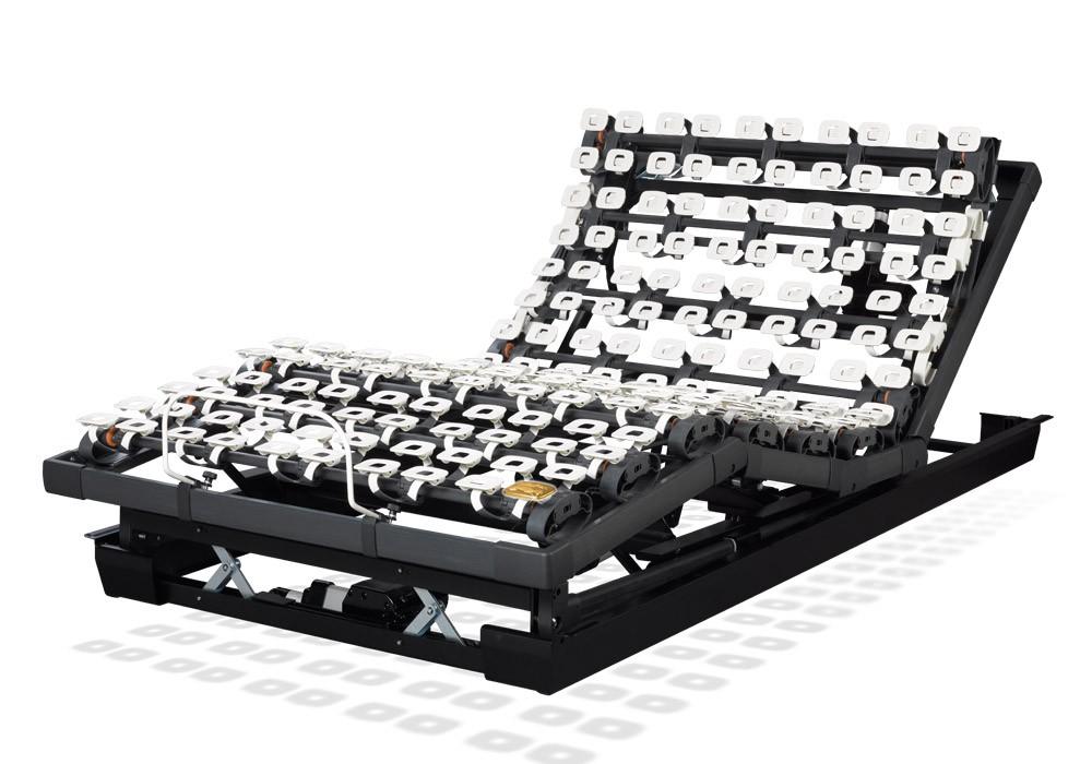Die motorische Unterfederung Lattoflex 395 besteht aus fünf Motoren und sechs Einstellungsmöglichkeiten für Kopf, Oberkörper/Rücken, Oberschenkel,  Unterschenkel, Körperschräglagerung