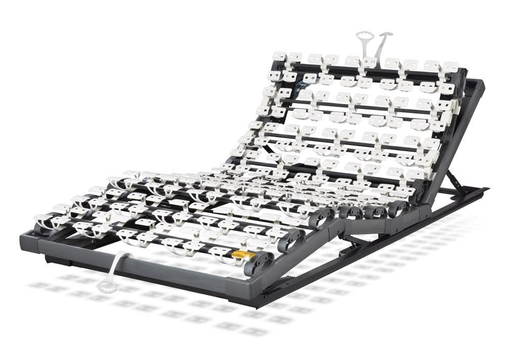 Die motorische Unterfederung Lattoflex 282 besteht aus zwei Motoren und drei Einstellungsmöglichkeiten für Kopf, Oberkörper/Rücken und Oberschenkel
