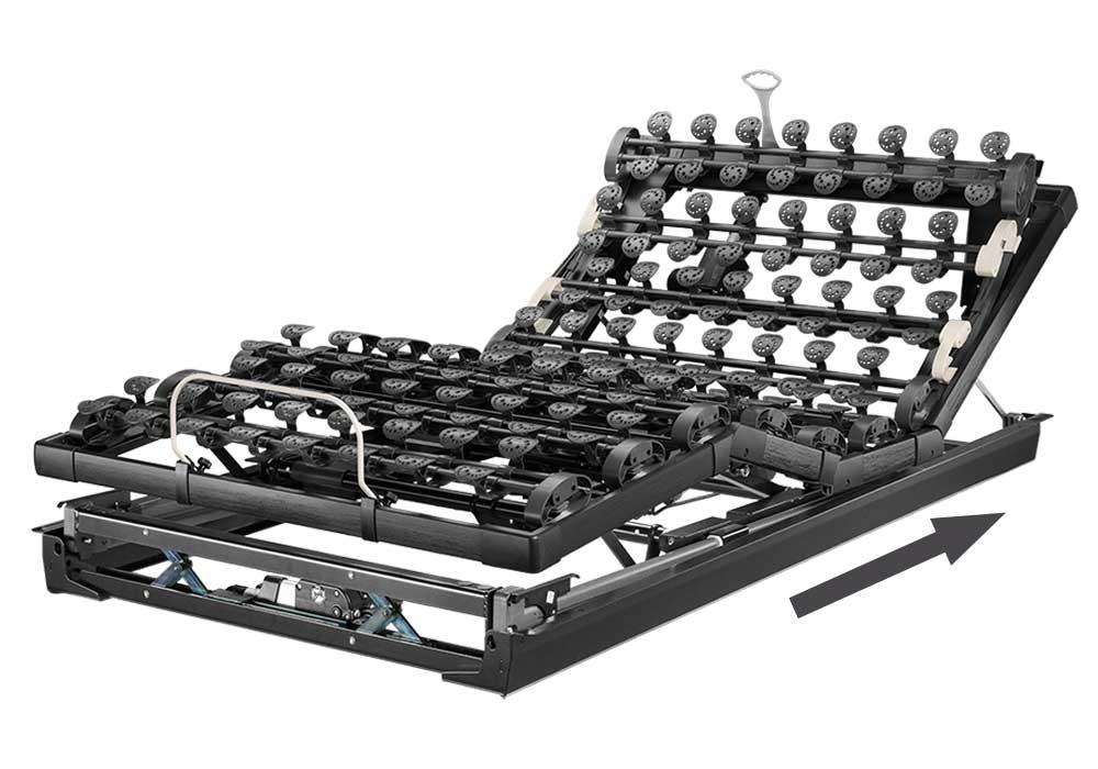 Die motorische Unterfederung Lattoflex 995 besteht aus fünf Motoren und sechs Einstellungsmöglichkeiten für Kopf, Oberkörper/Rücken, Oberschenkel,  Unterschenkel, Körperschräglagerung