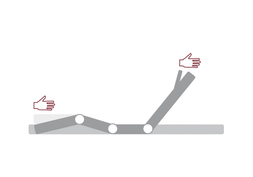 Einstellungsmöglichkeiten: Kopf 5-stufig, Oberkörper/Rücken 6-stufig, Knie-Knick 3-stufig