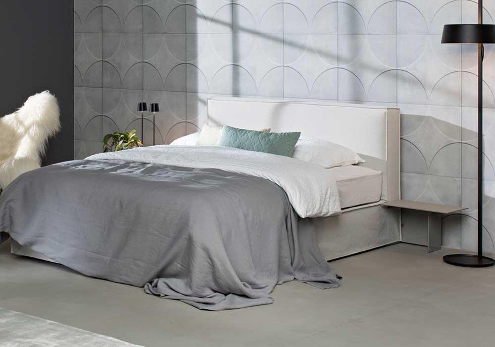 Bett von Schramm Purebeds Modell ELL in Stoff Natur